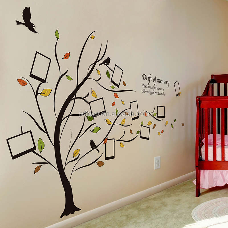 Removable creative bedroom living room sofa photo frame tree wall sticker for home decoration