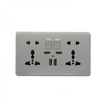 iCombo 2 Gang Five Pin Multifunction Switched Wall USB Power Socket