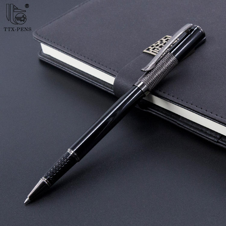 Black Gel Heavy Engraved Logo Metal Roller Ball Pen with Black Ink Refill