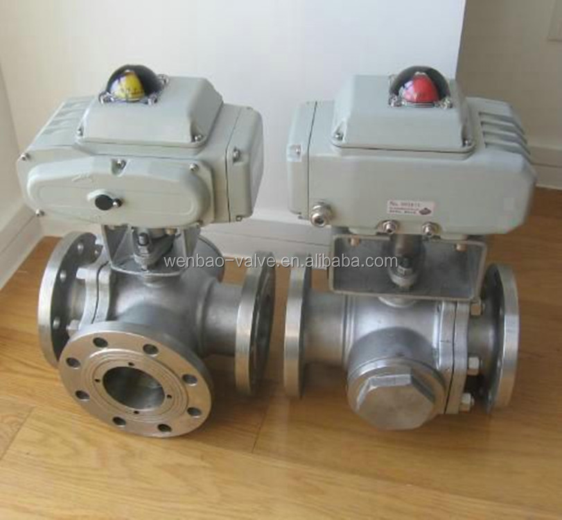 3-way motorized three way ball valve / motorized three way Electric Ball valve /Flanged 3 way ball valve