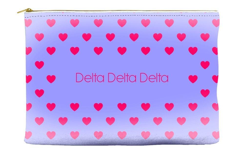 Delta Delta Delta (Tri Delta) Heart Pattern Purple Cosmetic Accessory Pouch Bag for Makeup Jewelry & other Essentials