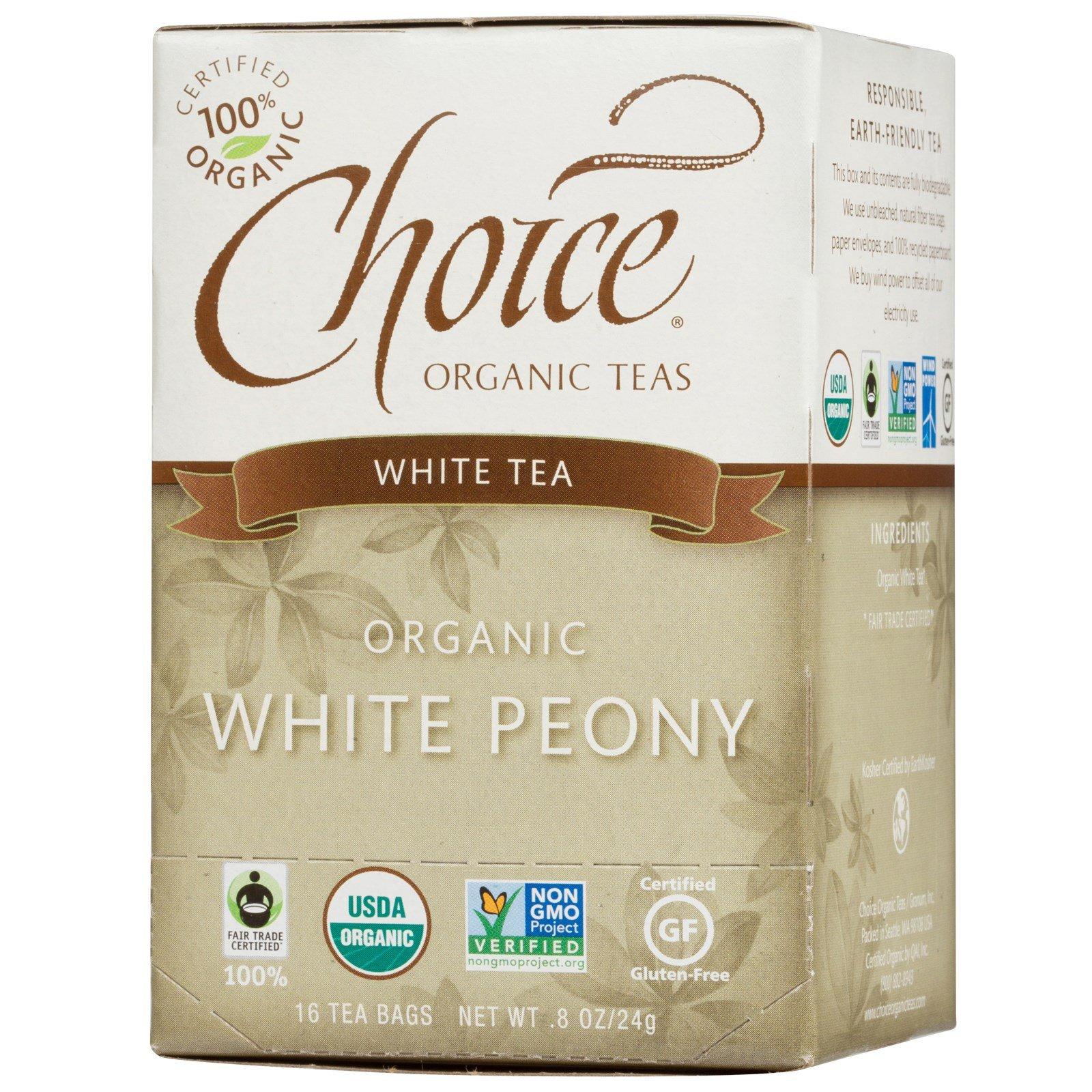 Choice Organic Teas, Organic, White Peony, White Tea, 16 Tea Bags, .8 oz (24 g) Choice Organic Teas, Organic, White Peony, White Tea, 16 Tea Bags, .8 oz (24 g) - 2pcs