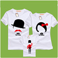 2016 New Family Fitted Summer Short sleeved T shirt Matching Clothes Baby Mother Father Cartoon Outfits