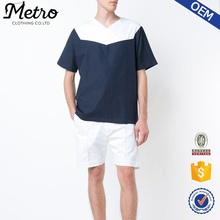 OEM high quality plain no brand navy blue and white cotton loose fit v neck t-shirt