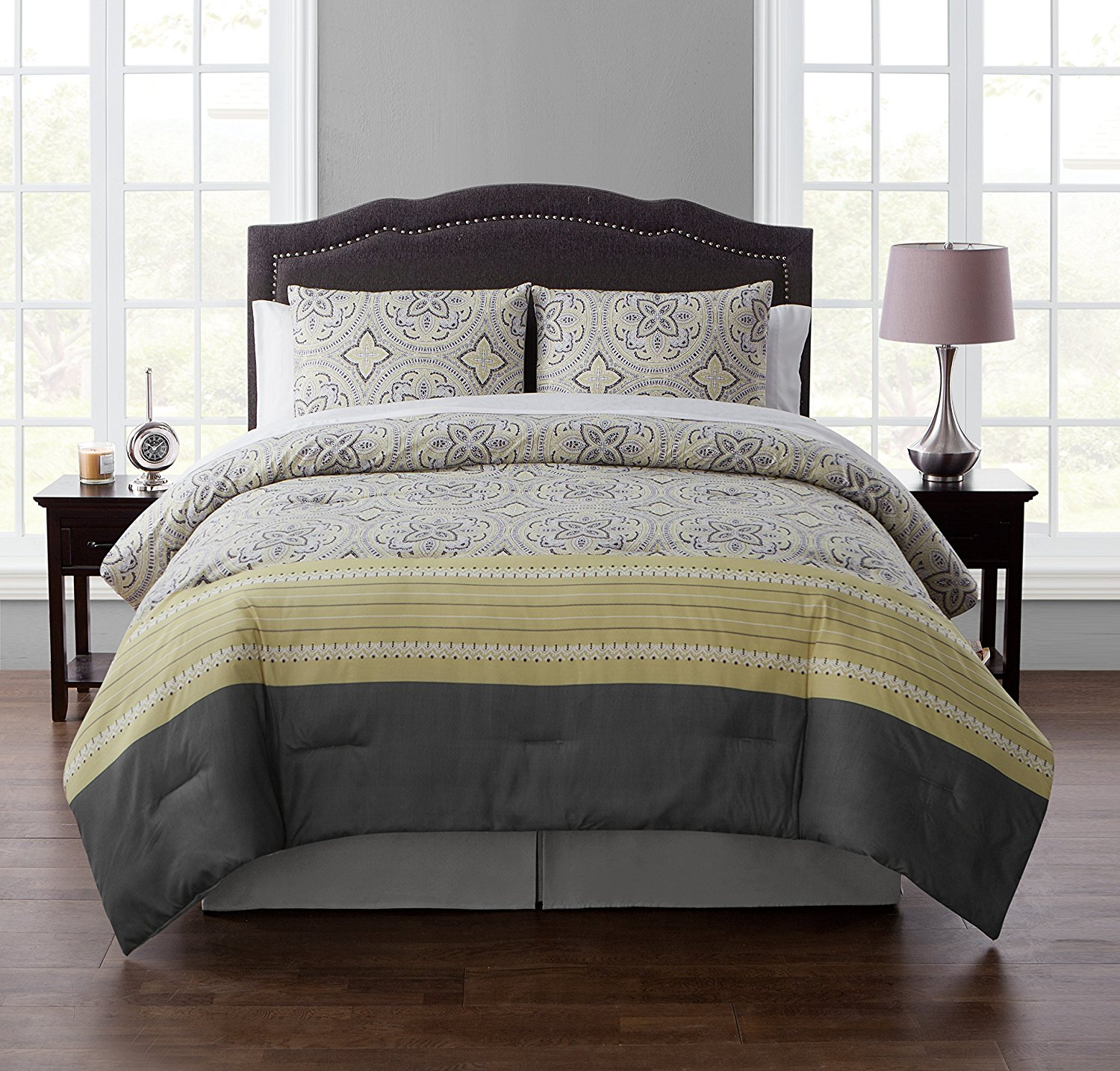 King BED-in-a-BAG Set : Boho Chic Medallion Design , Luxurious Microfiber in Yellow ; Complete Set Includes Reversible Comforter , Pillow Shams , Sheet Set: Fitted, Flat & Pillowcase , Bedskirt