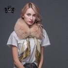 Various Colors Of Winter Women Real Fox Fur Scarves Shawls with Silk