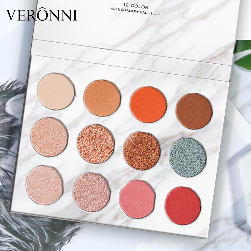 VERONNI 12 Colors Jigsaw Eyeshadow Palette Glitter Cosmetics venta al por mayor de maquillaje Waterproof Makeup For Eye фото