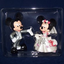 Anime Cartoon mickey and minnie mouse wedding pvc action figure toys 2pcs set children s toys