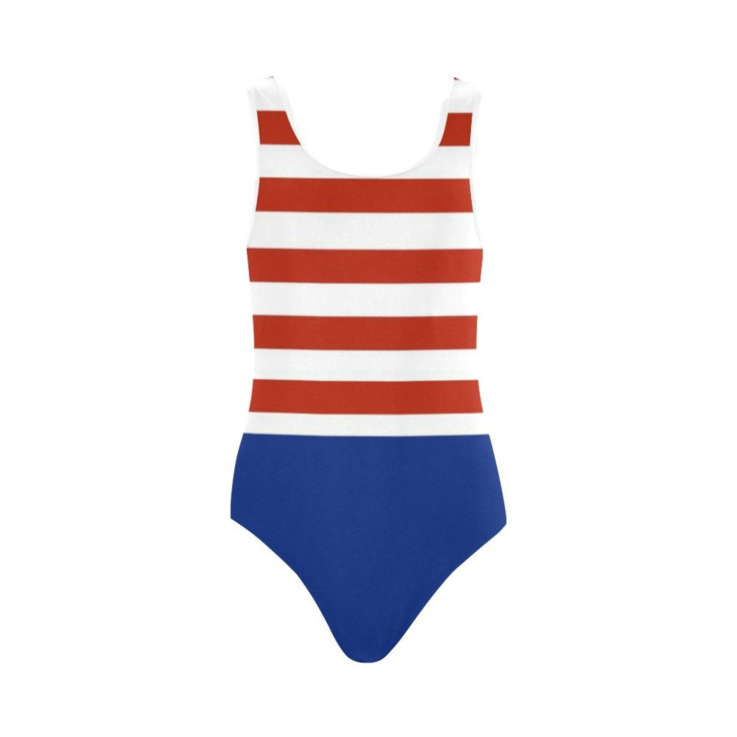 5cf0a5d34be8b Get Quotations · Find Arts Customized Red White And Blue Stripes Swimsuit  Vest One Piece Swimsuit Bathing Suit Beachwear