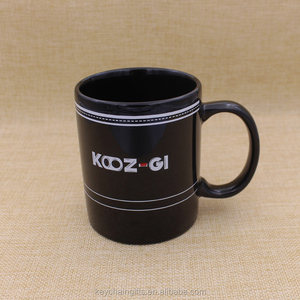 Custom cheap black porcelain tea cups print logo ceramic mugs