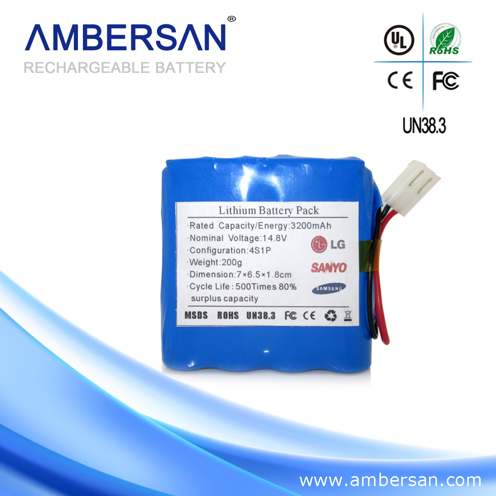 4s1p 14.4v 2500mah/3000mah 18650 Li-ion Battery Pack