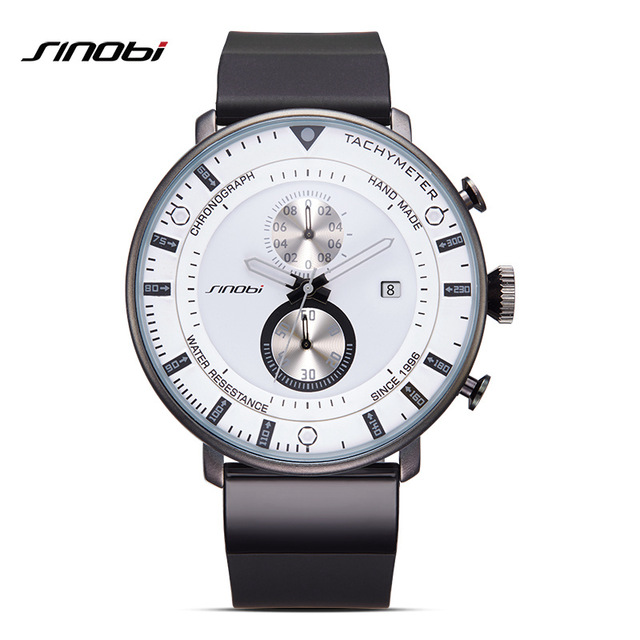 SINOBI 9689 Star Ultra Thin Chronograph Mens Wristwatches Rubber Watchband Brand Males Military Sports Watches With <strong>Date</strong>