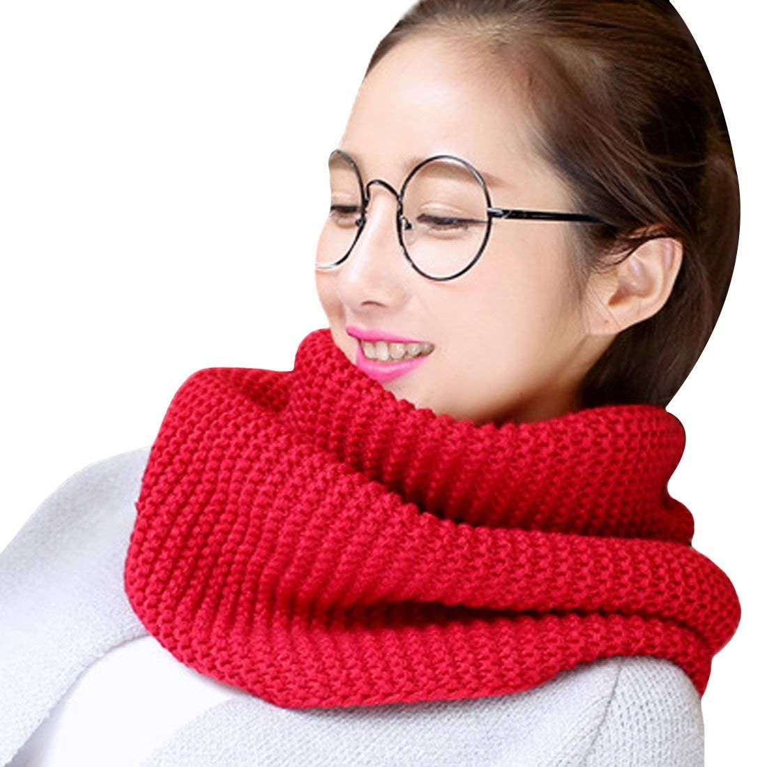 Pure Red Autumn/Winter Woolen Scarf Korean Women Warm And Thicken Ladies Scarf Knit Winter Infinity Circle Loop Scarf