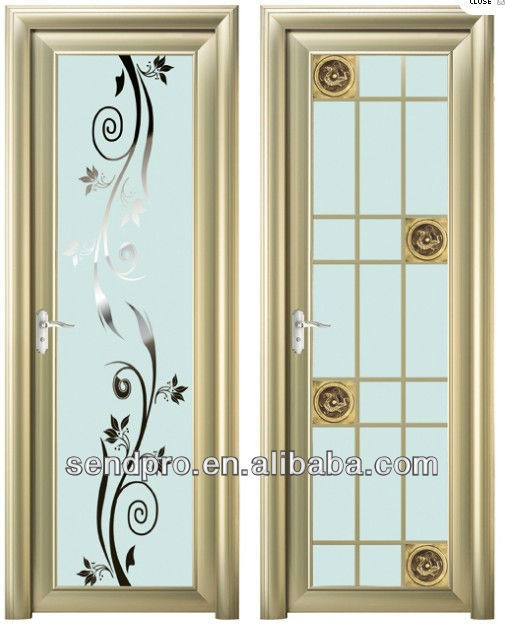 Modern Bathroom Door Design With Aluminum Glass Frame