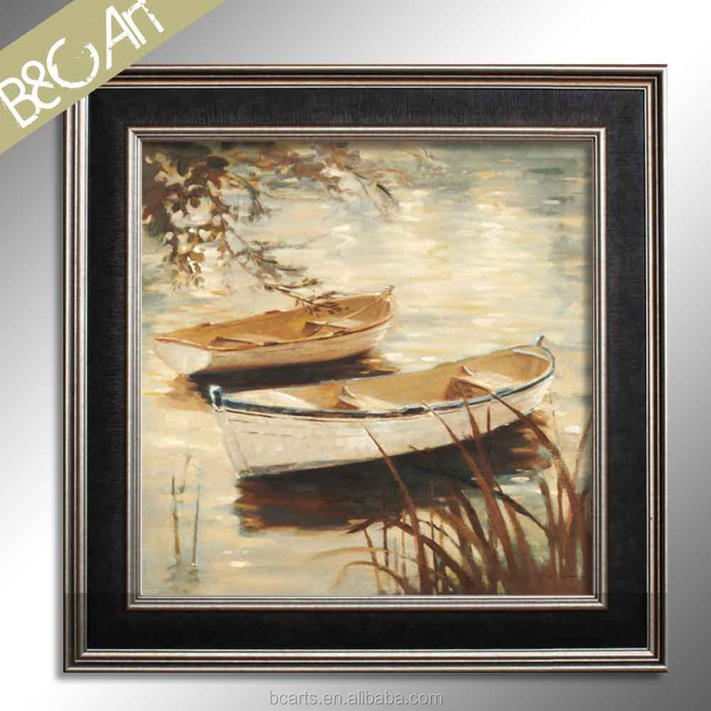 Beautiful sun shine wall decor original boats print painting famous seascape oil pianting