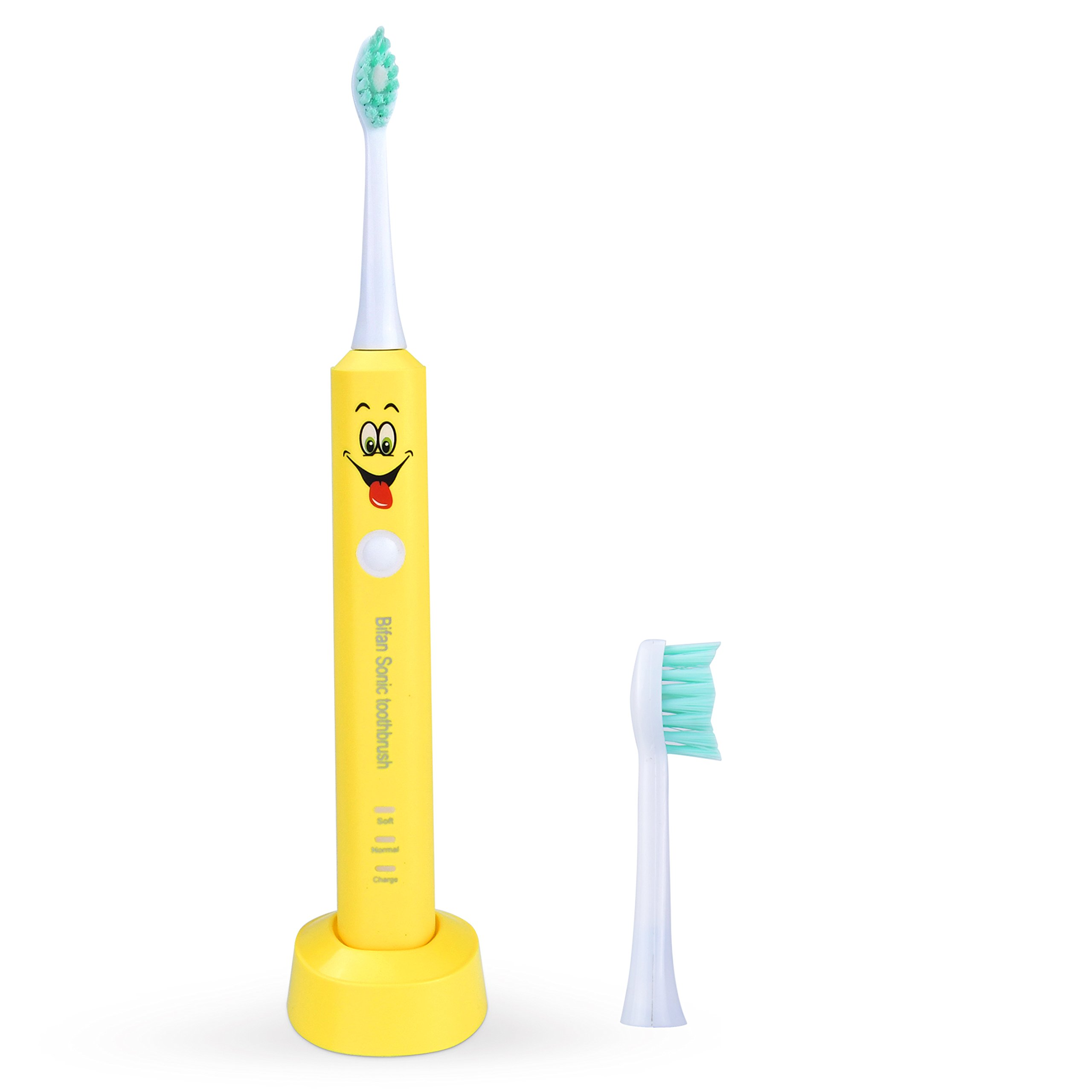 Kids Electric Toothbrushes Rechargeable Waterproof Children Sonic Toothbrush,Cartoon Smiley Design,with Extra 2 Replaceable Soft Brush Heads for Kids Boys Girls Teens(4-18 years)-yellow