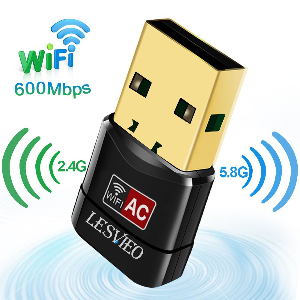 USB Wifi Adapter,Lesvieo USB wireless network adapter 600M Dual Band (2.4G/150Mbps+5G/433Mbps) for Desktop PC