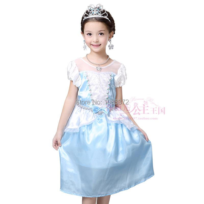 New 2016 Girls Cinderella Princess font b Dress b font Kids Girl Movie cosplay costume custom