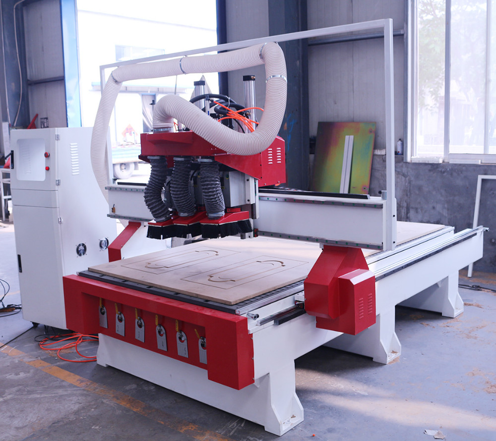 Multi head wood stair wooden door design cnc router for Door design machine