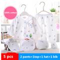 5pcs set Newborn Clothing Set For Baby 0 3 Month infant suit 100 Cotton Cartoon Underwear