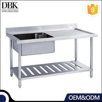 Kitchen cheap stainless steel single left sink work table