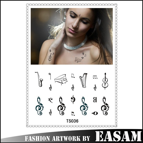 Temporary tattoo stickers for body art with musical notation key design
