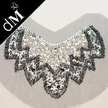 Garments Neck Pieces Sequin Embroidery Design Neckline Applique Nl