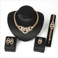 New arrival 2018 jewelry fashion necklace, earring, ring, bracelet 4 jewellery sets gold jewelry Dubai chain design for women