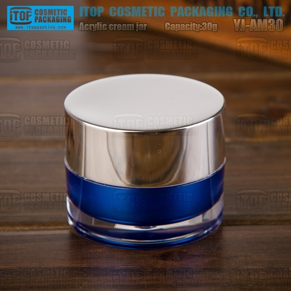 YJ-AM30 30g double layers cylinder round popular and high-end glossy silver 50g blue acrylic cosmetic pots