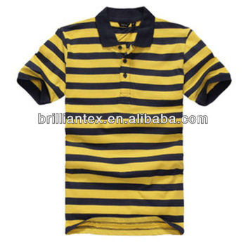 latest yarn dyed stripes pique blue yellow men two color polo shirt
