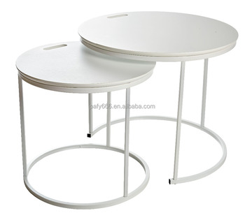 Set Of 2 Round Side Coffee Table ,Metal