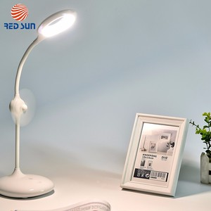 Wholesale Piano White Dimmable Table LED Lamp With Small Fan