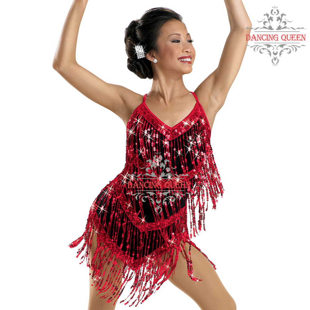 75eefc54b17b0 Get Quotations · Sequins Fringe Flying Adult Jazz Latin Dance Dress Women  Sexy Night Club Dress Ballroom Dresses Red