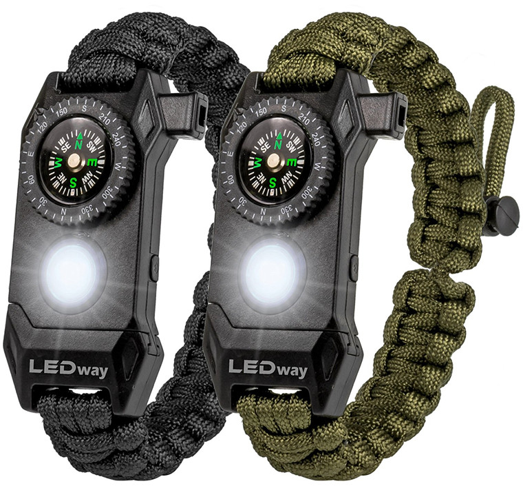 Verstelbare SOS LED Survival Armband Outdoor Camping Rescue Paracord Armband