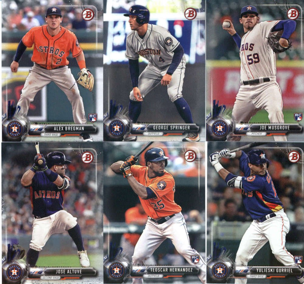 2017 Bowman & Prospects Houston Astros Team Set of 11 Cards: Carlos Correa(#9), Jose Altuve(#19), Teoscar Hernandez(#26), Yulieski Gurriel(#29), Alex Bregman(#75), George Springer(#87), Joe Musgrove(#92), Francis Martes(#BP146), Kyle Tucker(#BP28), J.D. Davis(#BP81), Daz Cameron(#BP95)