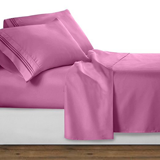 Strawberry Pink 1800 Collection Deluxe Microfiber 3-Line Bed Sheet Set