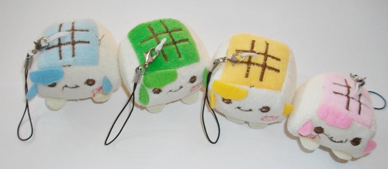 Set of 4 Includes a Pink, Blue, Yellow & Green Hannari Tofu Plush Mascot Strap Set ~