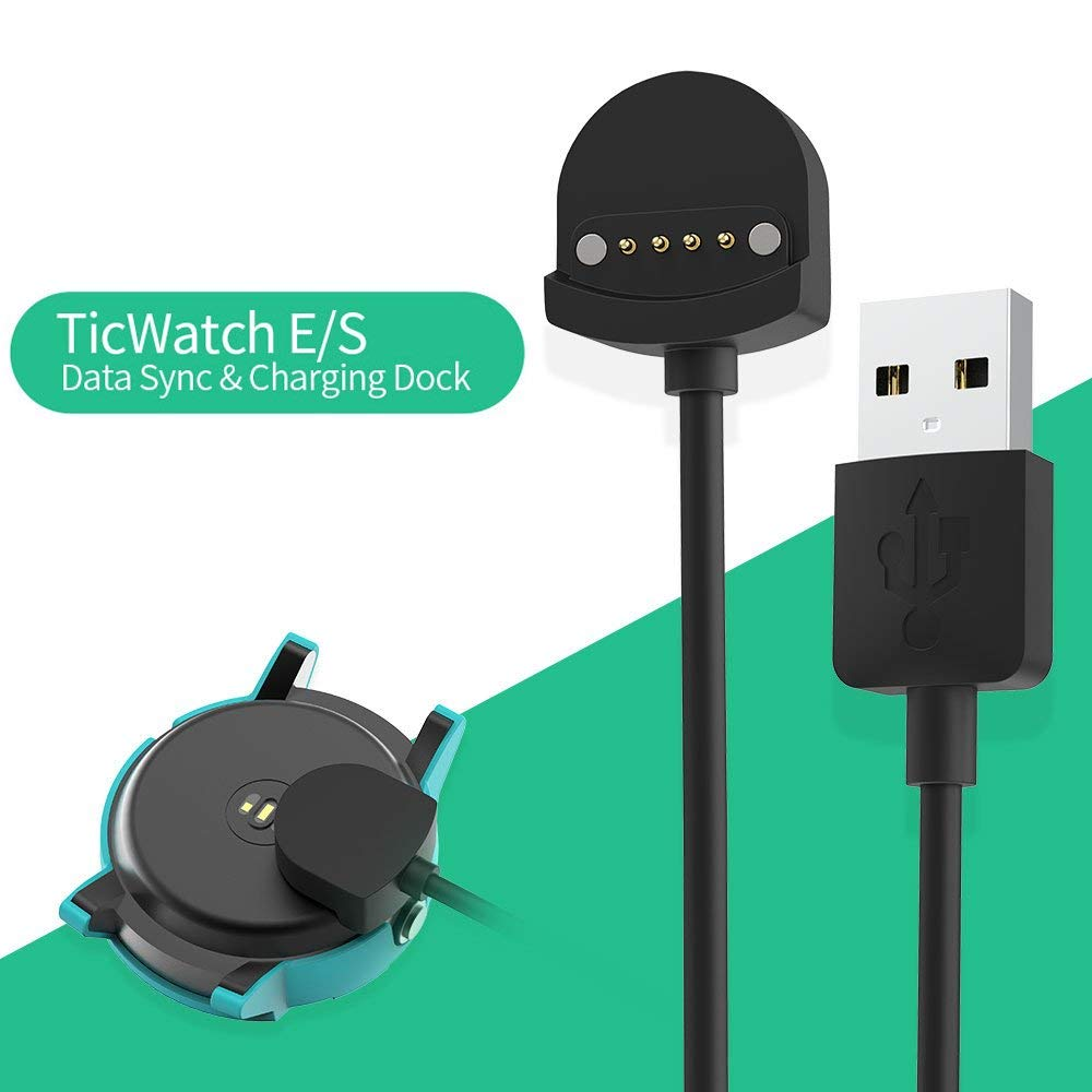 Ticwatch E Charger SIKAI Replacement Portable Magnetic Charging Cradle Dock For Ticwatch S/Ticwatch E Smart Watch Charger Station With Micro USB Cable (Replacement Charger)