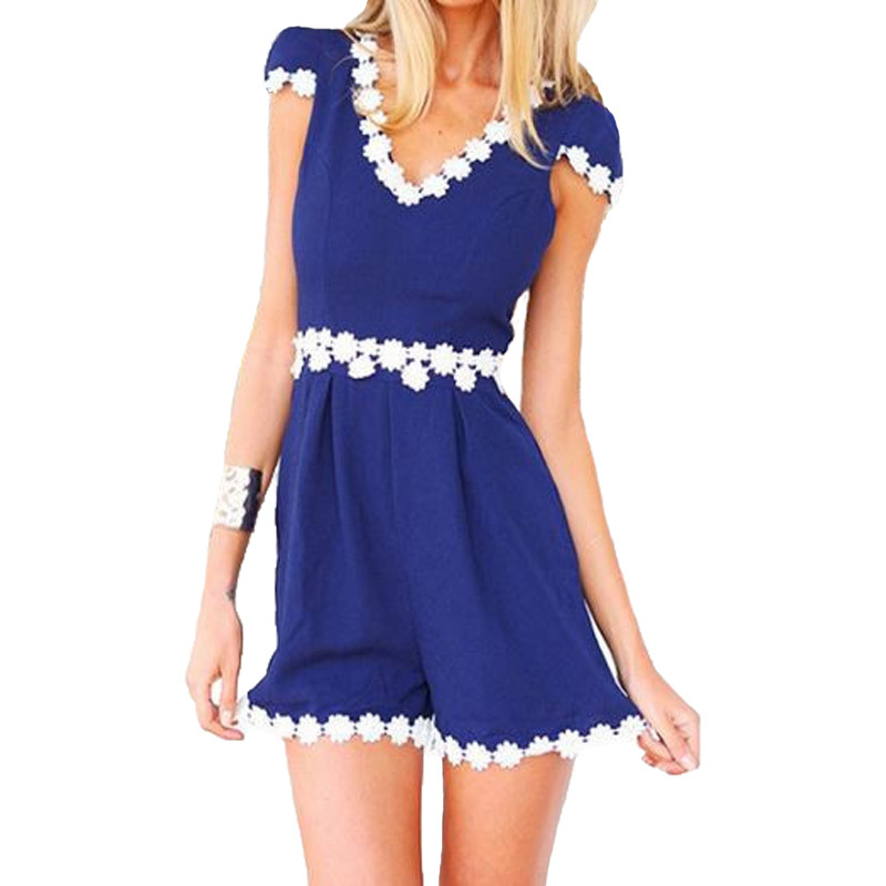 a5a6e792e95 Get Quotations · Summer Rompers Womens Jumpsuit Casual Elegant White Lace  Patchwork Playsuit Short Sleeve Blue Sexy Beach Jumpsuits