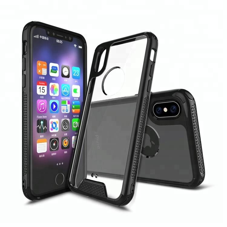 Best selling PC transparent TPU bumper shockproof cell phone case for iphone x 8 7 6 plus acrylic phone case