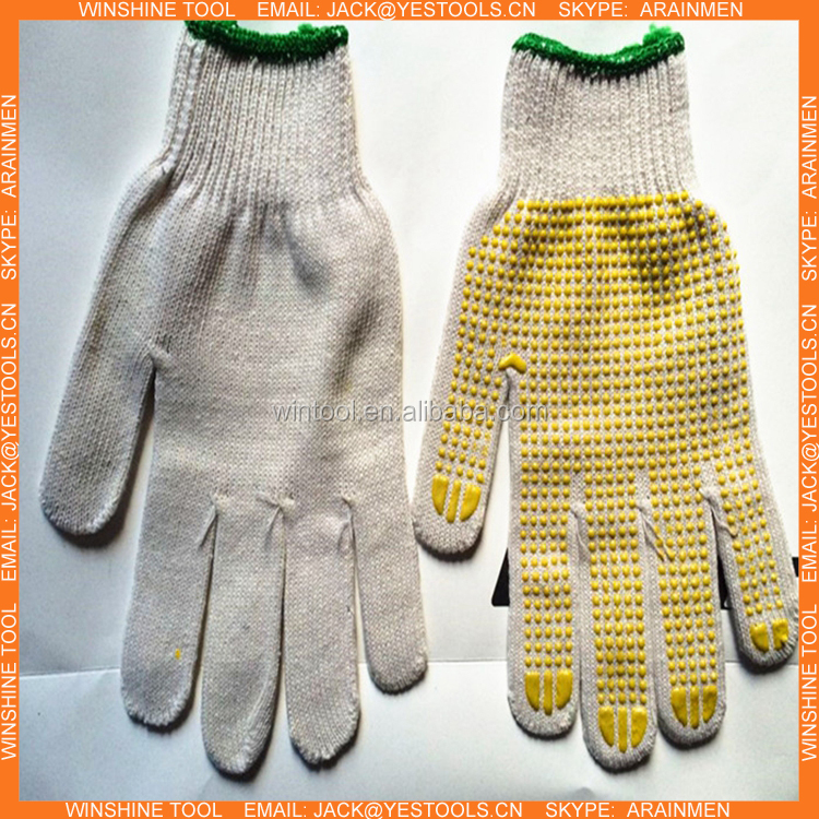 Cotton Dotted PVC Protective Antislip Safety Gloves With Anti-slip Particle Working Gloves