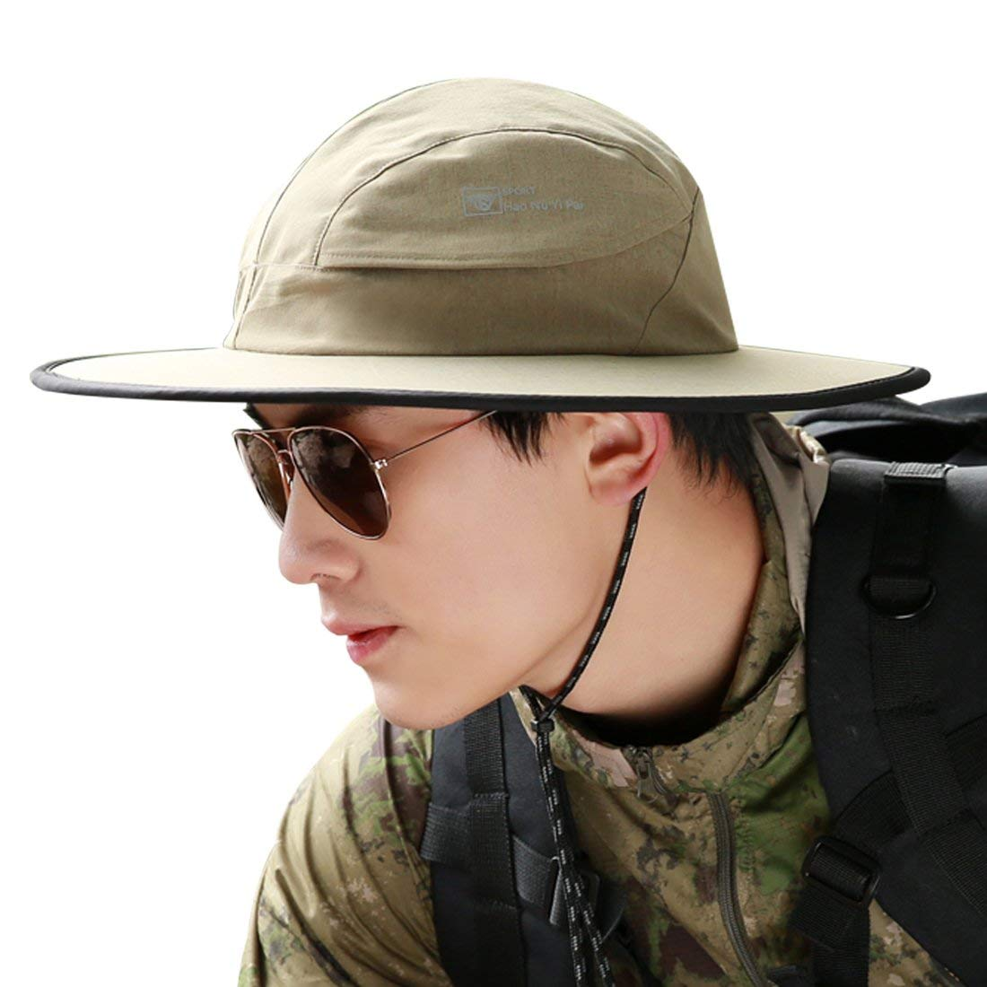 8ded466f Get Quotations · LLmoway Mens UPF50+ Sun Protection Hat Wide Brim  Waterproof Breathable Safari Hat