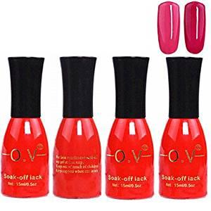 Tint 4PCS OV Red Bottle Soak-off UV Gel Set Top Coat+Base Gel+2 UV Color Builder Gel(No.3-4,15ml)
