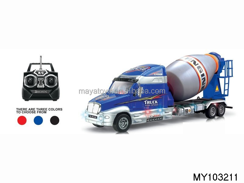 remote control 4-direction construction truck with music and lights RC toy