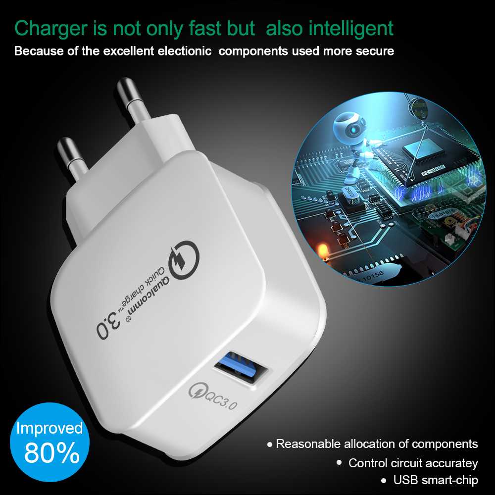 QC 3.0 Turbo Wall Fast Charging Adapter Mobile Phone Charger For iphone X Samsung Xiaomi mi9 USB Charger Quick Charge 3.0