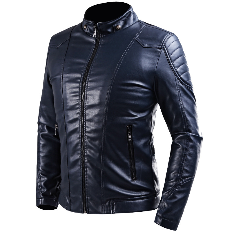 You can wear a black slim fit jacket mens which shows much style and fashion. A biker jacket with an erect collar can be very helpful. A biker jacket with an erect collar can be very helpful. The one we have shown is also a good one and has a buckle strap around the collar for a comfortable fitting.