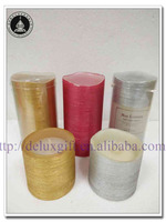 Gold Silver Red 3D Flameless Pillar Paraffin Wax Candle with custom design