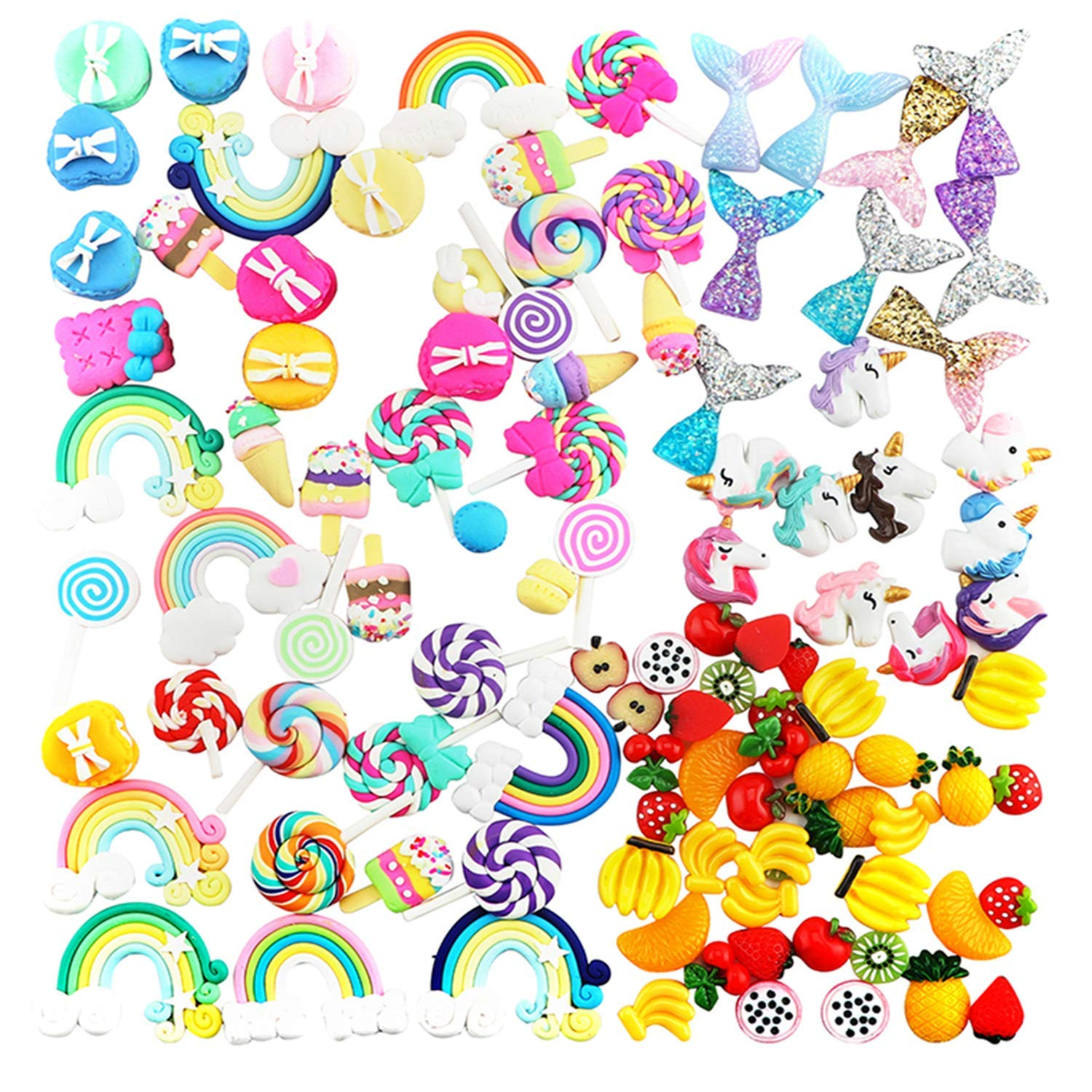 Slime Charms - Mixed Fruits Slime | Sweet Candy Slime | Mermaid Tails Slime | Unicorns Slime | Rainbows Slime Beads Resin Flatback Making Supplies for DIY Scrapbooking Crafts