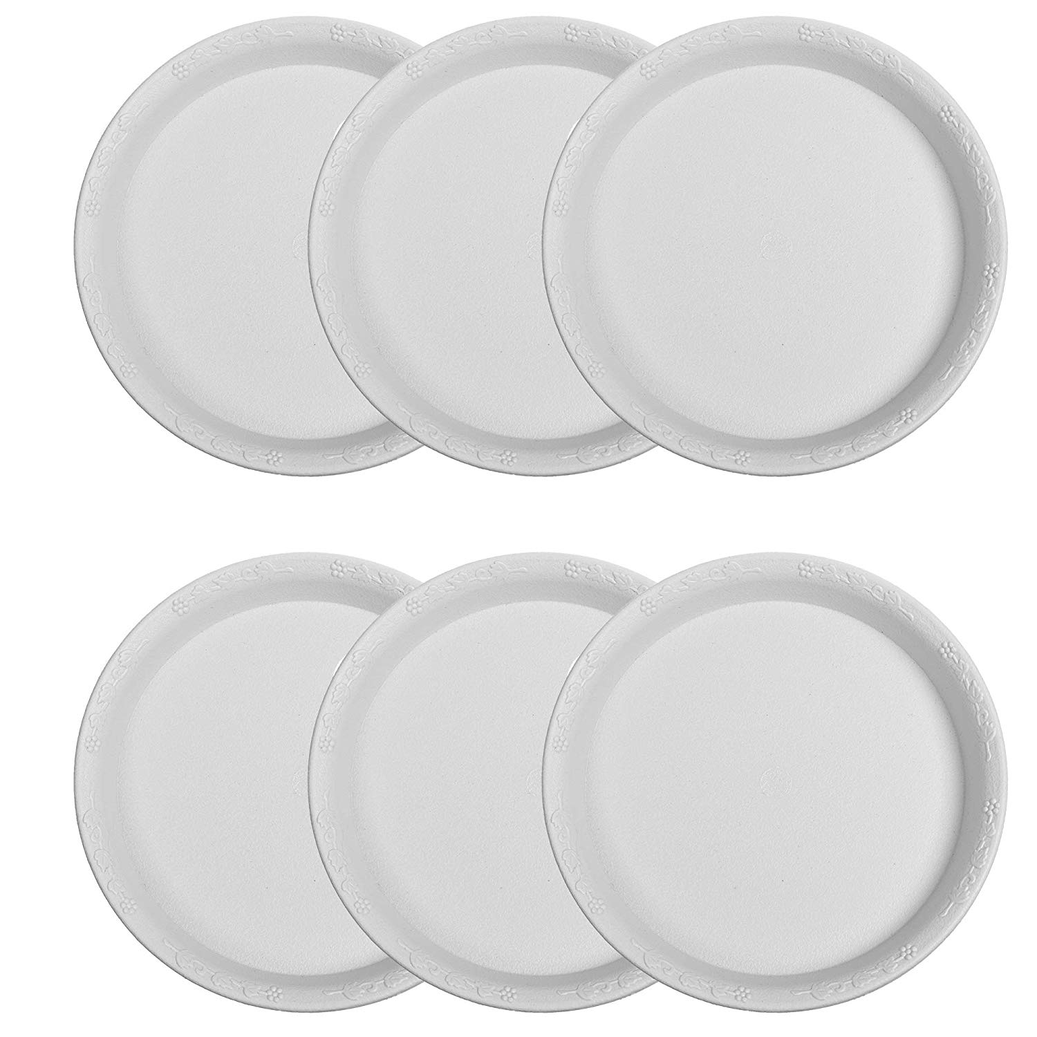 CM Cosmos Pack of 6 PCS Plant Pot Saucers for Flower and Household Plants, 9 Inches (White Color)