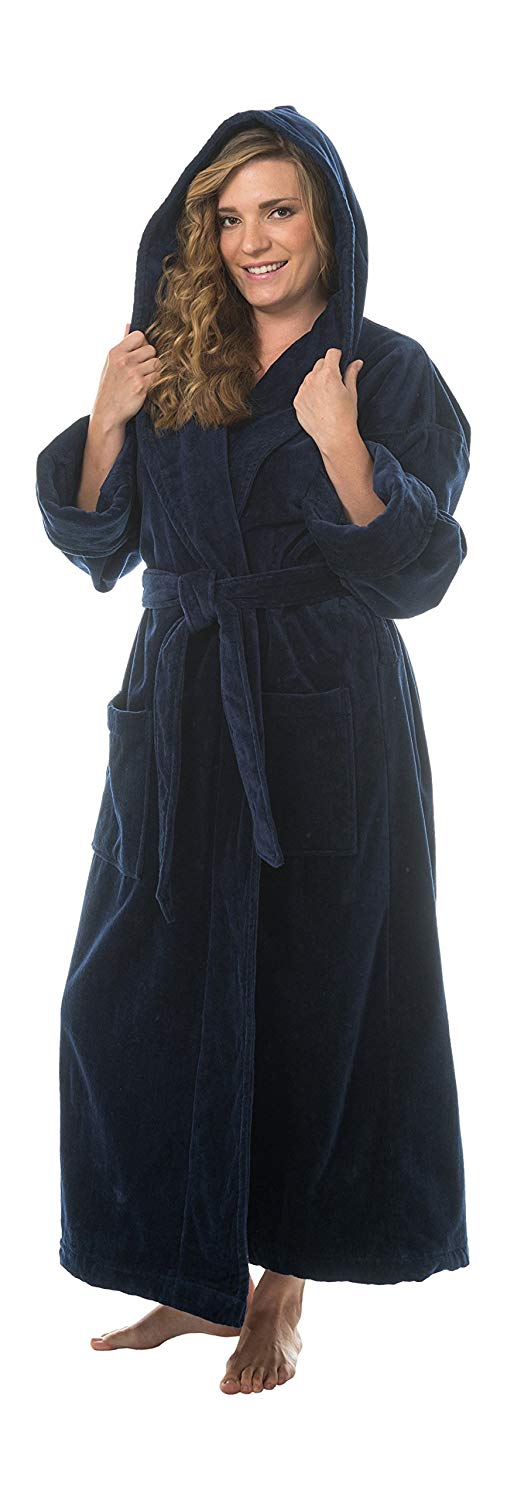 086b639036 Get Quotations · Comfy Robes Women s Terry Velour Hooded Bathrobe